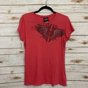 Harley Davidson Womens Embellished Wings T…